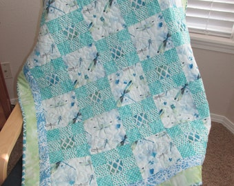 Dragonflies Marble baby quilt toddler quilt