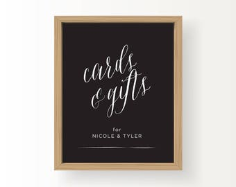 8x10_White on Black Custom Wedding Sign_Cards & Gifts