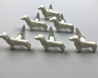 Lovely Set 6 x CREAM DACHSHUND Dog Metal knobs - Knob Home decor drawer pull