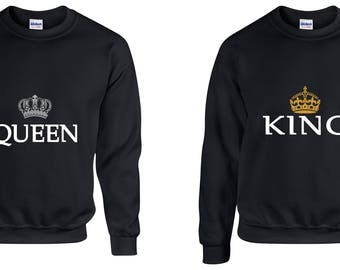 Valentine Gifts Queen King COUPLE Printed Adult Sweatshirts Unisex  Crew Neck Shirts for Men Women Matching Clothes