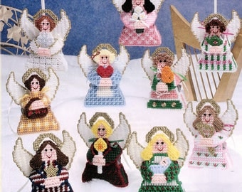 Vintage Christmas Angel Ornaments Patterns In Plastic Canvas Holiday Craft PDF Instant Digital Download 10 Designs Victorian Guardian