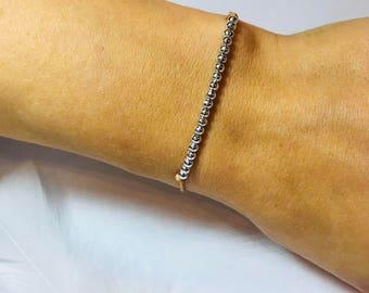 Minimalist bracelet with silver beads