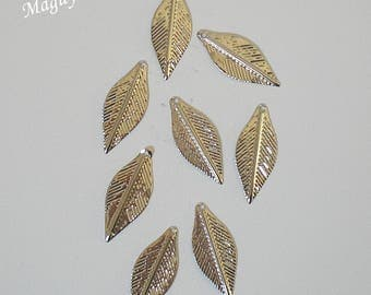Pendants charms silver metal set of 8 small leaf