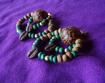 Boucles d'oreilles FAIT MAIN//Matériel naturel: bois et graines de café//Cadeaux pour elle//Style exotique/bobo/hippie//Beauté naturelle