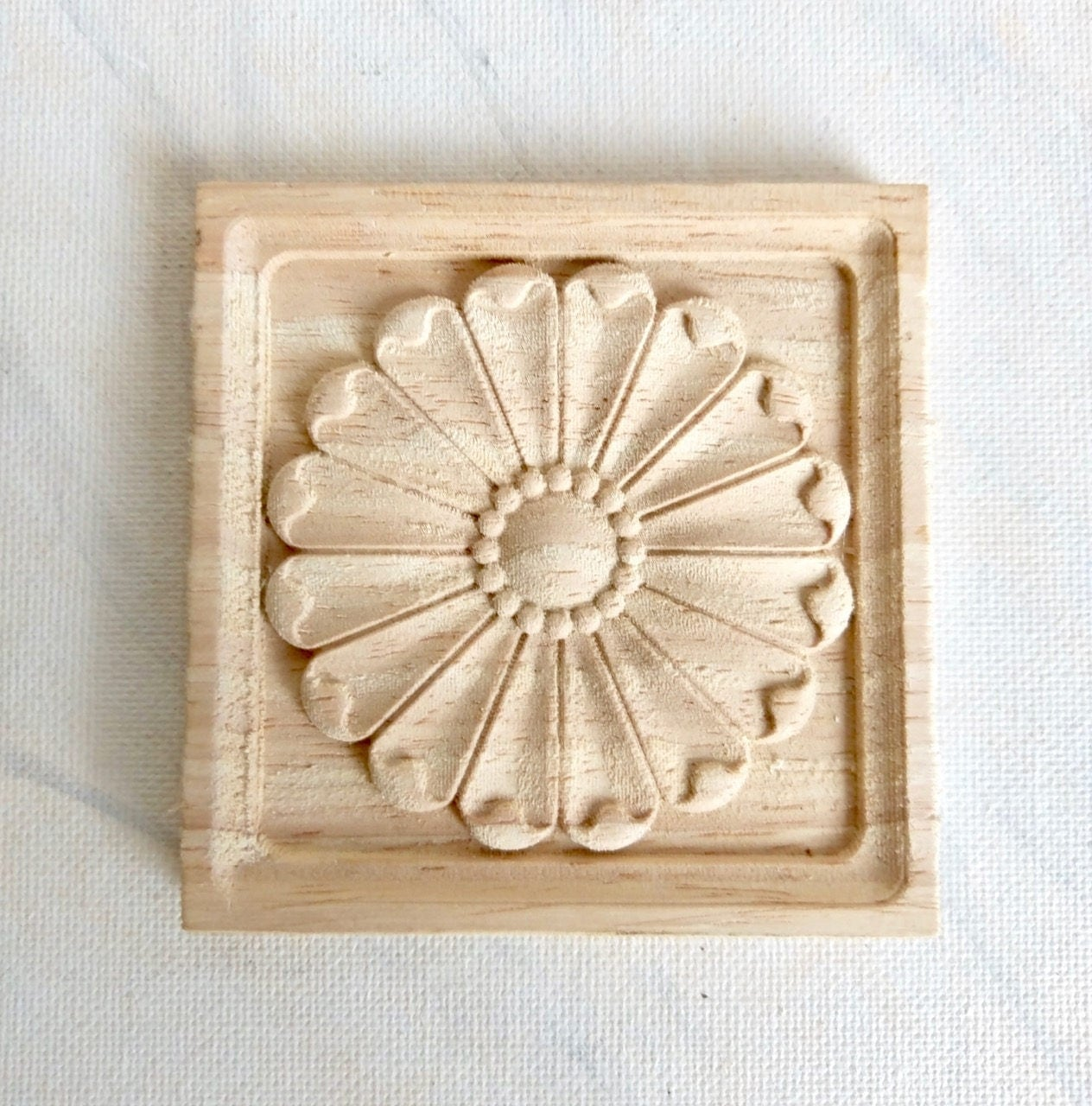 Square applique square rosette rosette applique wood for Applique furniture decoration