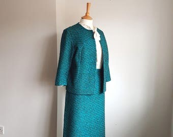 60s Mod Suit Jacket & Skirt MEDIUM