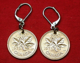 1975 earrings made with real under 1975 Canadian