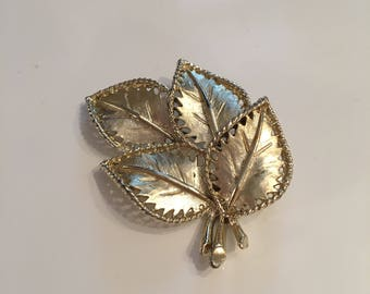 Hollywood signed gold tone leaf brooch