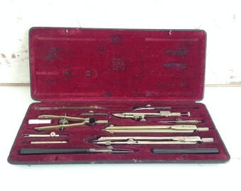 Original RICHTER - Drawing set made in Germany - Original  RICHTER drafting set - GDR - Drawing Instruments - Compasses case set