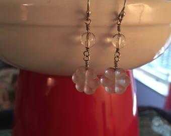 Clear flower earrings