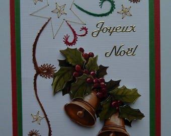 Christmas card hand embroidered