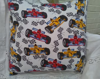 Handmade Cushion Cover. Red and Yellow Racing Cars and Checkered Flags. 18 inch
