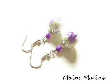 Japan Lavender Purple Flower Earrings