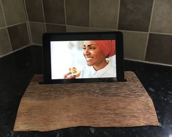 Ipad Tablet live edge solid wood Stand
