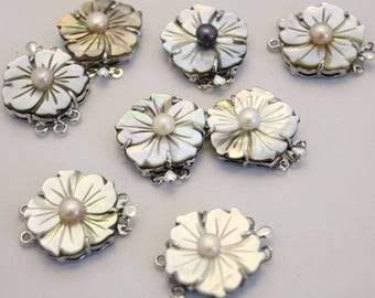 Shell Clasp, Mother of Pearl Clasp, 2-strand tab, mother-of-pearl shell ,nickel-plated brass,Flower Clasp, Sold individually