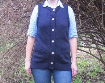 Vintage Vest; Womens Wool Vest; M Size Vest; Navy Blue Vest; Woolovers Sleeveless Knitwear; Button Front Vest; 100% British Wool Vest;