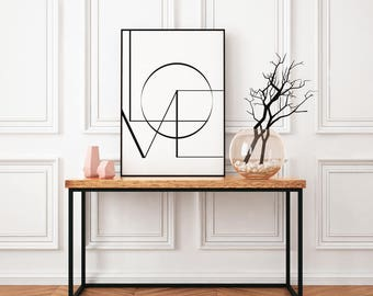 Love - wall print, framed print, marble/white background, typography print, Wall art prints, Home print, graphic design, A4 framed print