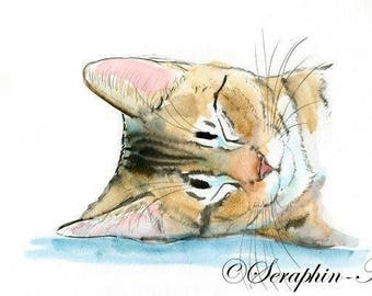 Sleeping Tabby Cat Original Watercolor Painting