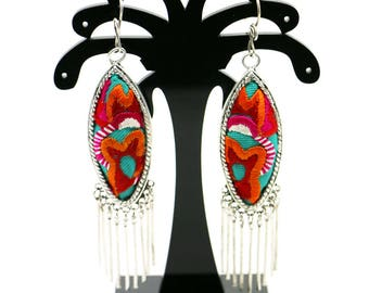 Brincos de Prata Bordados/ Miao Silver Earrings with Hand Embroidery