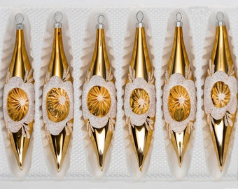 "Navidacio 6 pcs. Glass Ice Drops in ""Highgloss Vintage Gold"" New"