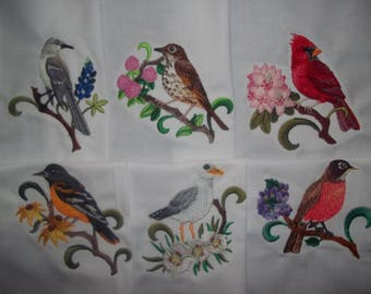 State birds digital illustration art print state birds and flowers embroidered quilt blocks set 1 sciox Gallery