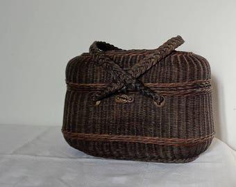 Vintage French Antique wicker basket