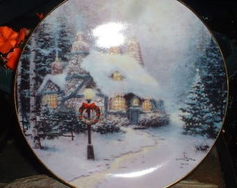 Vintage  Thomas Kinkade Stonehearth Hutch Collectible Plate  1995