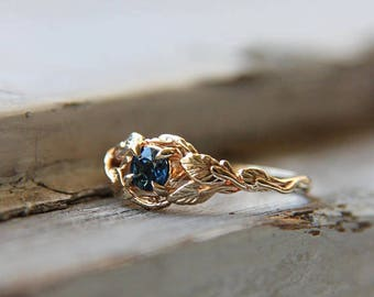 Sapphire engagement ring, branch ring, 14K yellow gold, wedding ring, leaves ring, proposal ring, gold promise ring, unique engagement, leaf