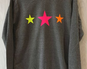 Star Neon Sweatshirt, Women's Sweatshirt, Star Jumper, Grey Sweatshirt, Three Star Sweatshirt, Neon,