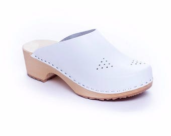 Leather clogs white sandals New clogs Wooden clogs swedish clogs Handmade clogs sandals Gift for women mules wood clog sweden clogs shoes