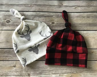 Antler and Plaid Knotted Beanies - Baby Beanies - Buffalo Plaid - Knotted Beanies - Antler Print