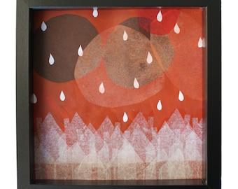 "Red Sunset ""Watecolor print, Inkyet print, reproduction bright Modern, blade, original artwork, decorative painting"