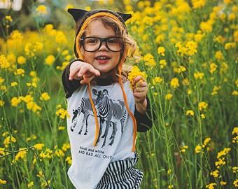 Rad Zebra Shirt Kids Clothes Raglan Baseball Tee T-shirt Toddler Youth Girls Shirt Boys Shirt Kids Awesome Animals Zebras