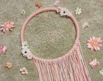 Home decor wall hanging,dreamcatcher wll hanging,baby room decor,girl room,pink dream catcher,flowers,flower dream catcher,flower decor