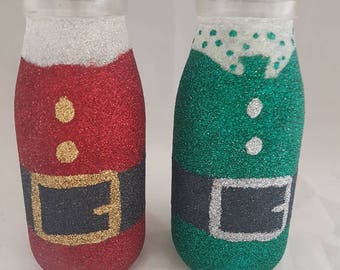 Glitter Santa bottle, elf bottle, glitter glass, Christmas gift, retro milk bottles, stocking fillers, Christmas eve gifts, children's gifts