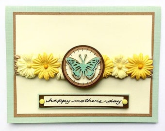 Rustic Blue Butterfly/Yellow Flower Mother's Day Card - Teal/Aqua/Sea Green - Mother/Grandmother/Wife/Mom/Mum/Grandma/Sister/Friend