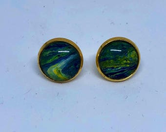 Stud earrings - hand painted - chic - classy - blue - gold - jewelry - wvu - bohemian - mountaineer - gift earrings