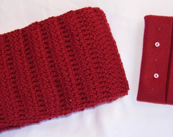 Red Yarn Handmade Knitted Crocheted Scarf and Felt Portable Tissue Pouch, luxurious, elegant, gift