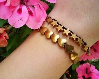 tiny heart bracelet, Tiny Star Bracelet, heart bracelet, Star bracelet, dainty bracelet, love bracelet, heart jewelry, friendship bracelet
