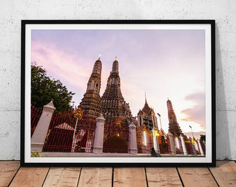 Thailand Temple Sunset Photo // Travel Photography Print, Buddhist Temple Wat Arun, Asian Decor, Thai Wall Art, Buddhism Religious Temple
