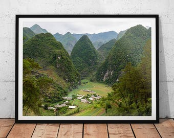 Vietnam Mountains Photo // Asia Landscape Photography, Mountain Village Wall Art, Green Nature Photography Home Decor, Ha Giang Hills Photo