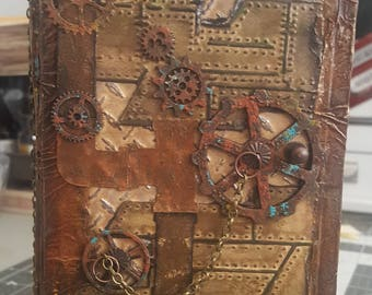 Grungy Steampunk TN Size Junk Journal, Journal, Diary, Writing, Traveler's Notebook, Hardcover