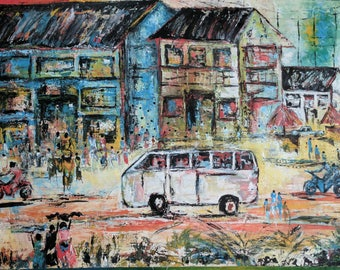 Colorful Oil Painting- Busy Street Market