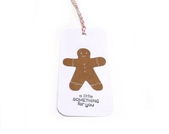 Gingerbread Man Gift Tag, Christmas Tag, Gingerbread Christmas Gift Wrap, Holiday Favor Tag, Christmas Hang Tag, Holiday Gift Tag, set of 5