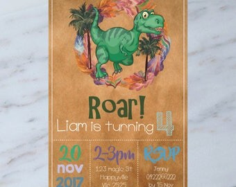 Personalised DINOSAUR Birthday Party Invitation DIGITAL You Print
