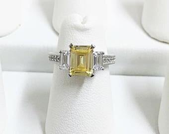 Canary Yellow Diamond Engagement Ring | Emerald Cut Ring | Canary Yellow Emerald Cut Engagement Ring | Emerald Cut Engagement Ring