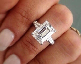 7 ct emerald cut engagement ring bridal engagement ring emerald cut ring emerald - Emerald Cut Wedding Rings