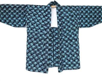 Japanese Vintage Jacket NORAGI indigo Kasuri fabric<Free shipping> hanten kimono boro