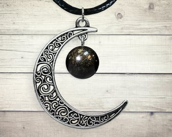 Celtic moon necklace etsy celtic moon chakra pendant mexican obsidian silver moon charm valentines day gift aloadofball Choice Image