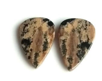 Honey Dendritic Pear Pair Cabochon,Size- 25x16 MM, Natural Honey Dendritic, AAA,Quality  Loose Gemstone, Smooth Cabochons.